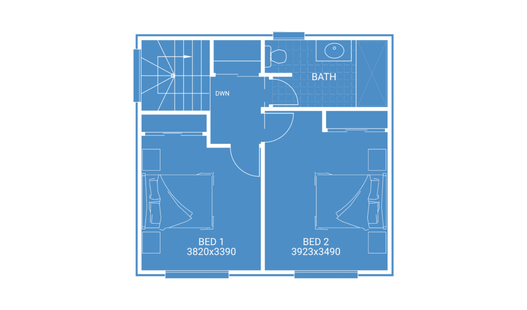 second storey extension floor plan blueprint showing 2 bedrooms 1 bathroom and study nook