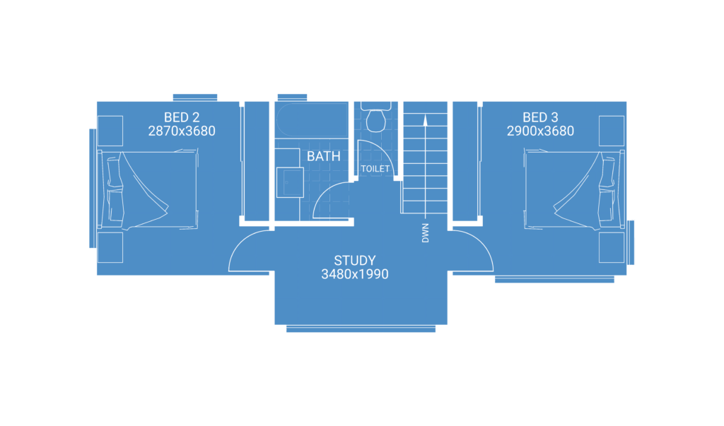 second storey extension floor plan blueprint showing 2 bedrooms 1 bathroom and study