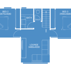 second storey extension free floor plan blueprint showing 2 bedrooms 1 bathroom and lounge room