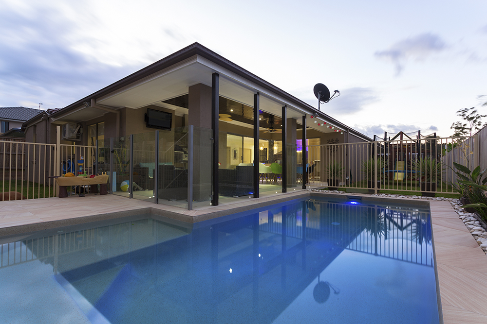 Alfresco extension with a swimming pool
