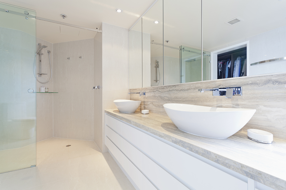 Modern bathroom renovation with double basin