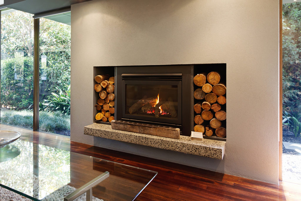 Fireplace in a home extension melbourne